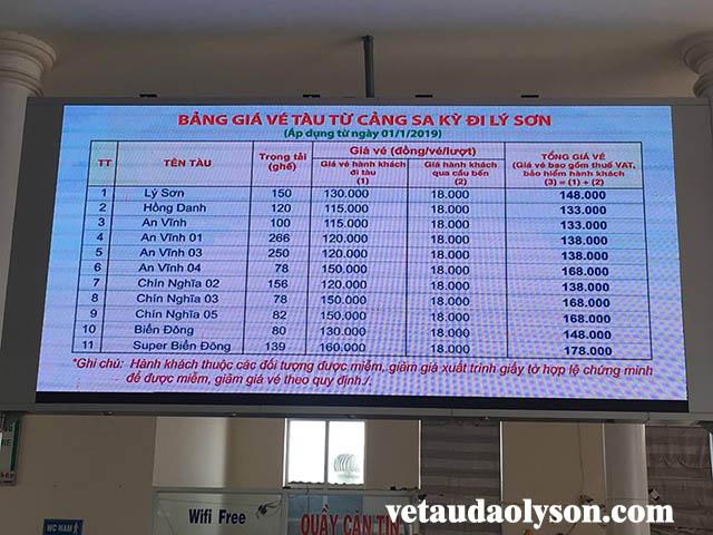 Bảng giá vé tàu tại Cảng Sa Kỳ đi Lý Sơn