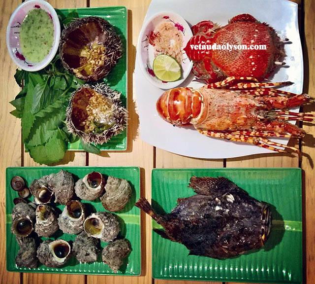 Chỉ với 400k du khách có thê thưởng thức hải sản với nhiều món ăn hấp dẫn: Cua Huỳnh Đế + Tôm Hùm + Ốc Cừ + Nhum Biển.